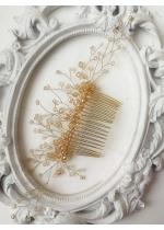 Дизайнерски гребен с кристали Сваровски в златно Golden Drops by Rosie