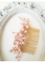 Дизайнерски гребен украса за коса с кристали Сваровски в цвят праскова Rose Gold Peach