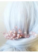 Дизайнерски Гребен с кристали и перли Сваровски в розово модел Rose Gold Touch by Rosie