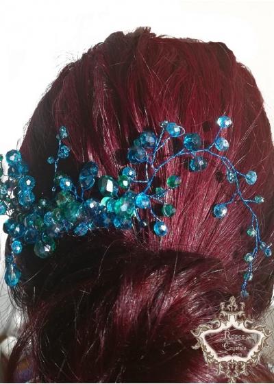 Дизайнерски гребен- кристална украса за коса в тъмен тюркоаз Sea Charm By Rosie Concept
