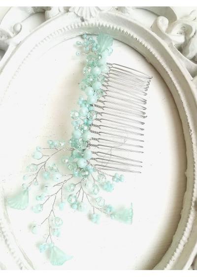Дизайнерски гребен украса за коса с кристали Сваровски в светло зелено (мента) Sweet Mint Flowers by Rosie