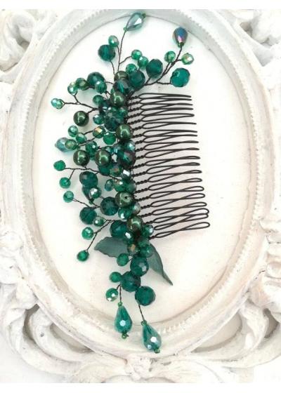 Ефектен гребен украса за коса с кристали Сваровски в тъмно зелено Emerald Rose