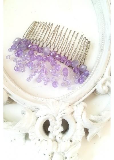 Кристално гребенче украса за коса в светло лилаво от серията French Lavender by Rosie