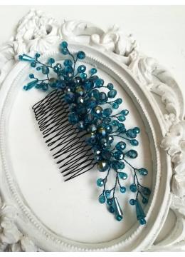 Дизайнерски Гребен - украса за коса с кристали Сваровски в тъмен тюркоаз модел Turquoise Rose by Rosie