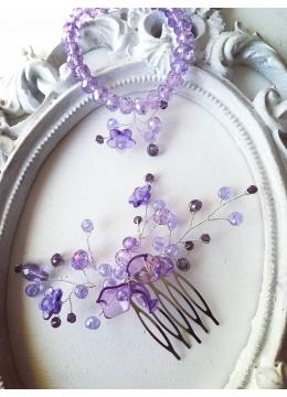 Комплект Tender Verbena by Rosie - кристално гребенче - украса за коса и гривна в лилаво
