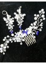 Булчински комплект гребенче за коса и обици в кралско синьо и бяло - Ever Blue by Rosie
