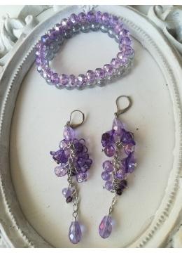 Комплект кристални бижута - гривни и обици в лилаво серия Tender Verbena by Rosie