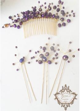 Комплект дизайнерски украси за коса с кристали гребен и фуркети Amethyst Rose