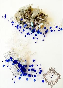 Комплект гребен - украса за коса и гривна с кристали в кралско синьо и бяло модел Crystal Butterfly Blue by Rosie