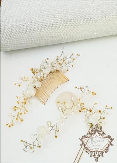 Комплект сватбен гребен, фуркет и гривна в бяло и златно модел Roses and Gold by Rosie