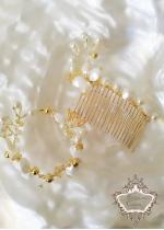 Булчински дизайнерски комплект Гребен - аксесоар за коса и гривна Gardenia Gold by Rosie