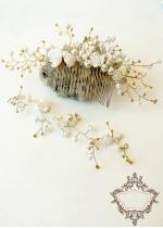 Украса- гребен за сватбена прическа и нежна гривна Gold white roses