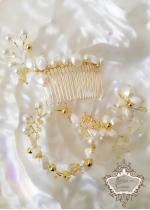 Комплект сватбена украса за коса- гребен, гривна и обици Gardenia Gold by Rosie