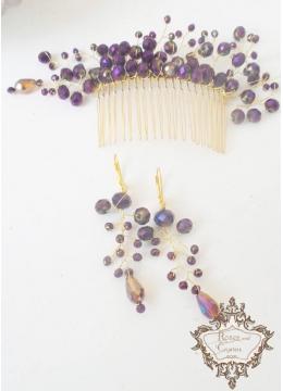 Дизайнерски гребен- украса за коса и обици в златисто и лилаво Amethyst Rose