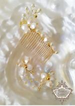 Гребен- украса за булчинска прическа и воал и обици Gardenia Gold by Rosie
