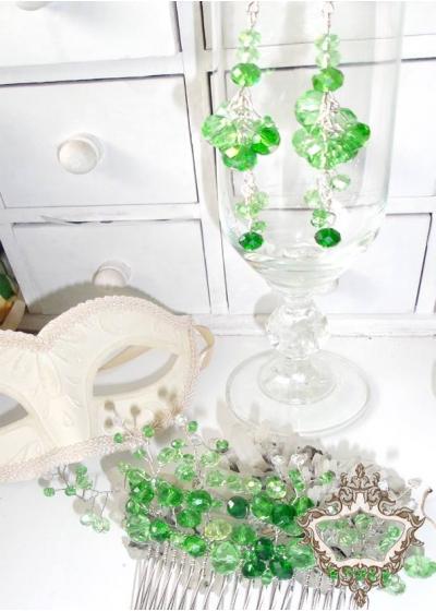 Абитуриентски комплект кристален гребен за коса и висящи обици Green Flowers