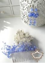 Нежен комплект гребен- украса за коса и официални обици от перли и кристали в светло синьо Heavenly Flowers