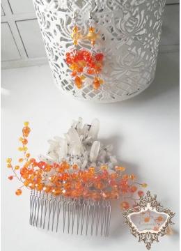Кристален комплект за официални случаи -гребен и обици Orange Flowers by Rosie