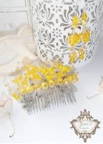 Комплект гребен- украса за официални прически и дълги обици от кристали в жълто Sun Flowers