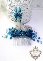 Комплект кристален гребен за коса и обици от перли и кристали Сваровски Turquoise Flowers