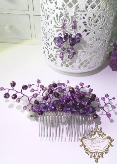 Комплект официален кристален гребен- украса за коса и обици Violet Flowers