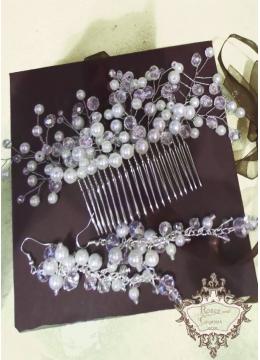 Уникален комплект булчински гребен-украса за коса и обици с перли и кристали White Bride
