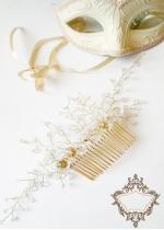 Луксозен дизайнерски гребен - украса за коса от кристали модел Belle Époque
