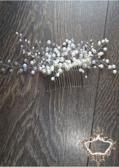 Гребен- украса за булка с естествени перли Ivory Beauty