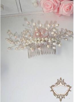 Дизайнерски булчински гребен с естествени перли Secrets and Pearls