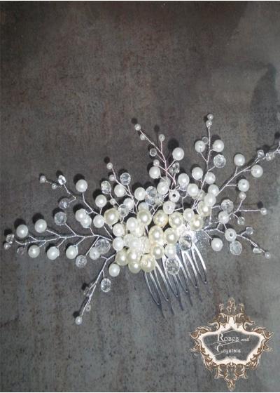 Сватбен гребен аксесоар за коса с перли и кристали Snow day -мини
