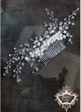Булчински кристален гребен- украса за коса White Bouquet