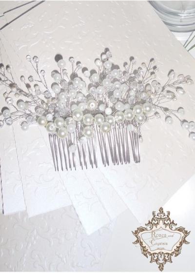 Луксозен булчински гребен- аксесоар за коса White Bride