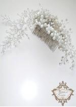 Гребен- украса за коса за Булка перли и кристали White Drops