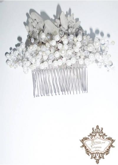 Луксозен булчински гребен- аксесоар за коса White Flower