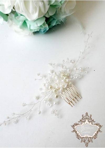 Булчински гребен- украса за коса с перли и кристали White Roses мини