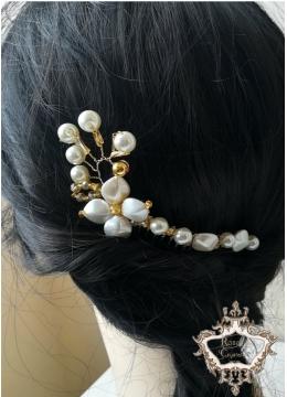 Стилен булчински гребен украса за коса в златно и слонова кост Gardenia Gold