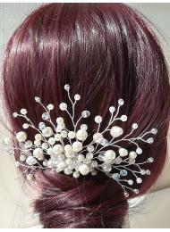 Булчинска украса за коса мини гребенче с кристали и перли Elegy of Snow