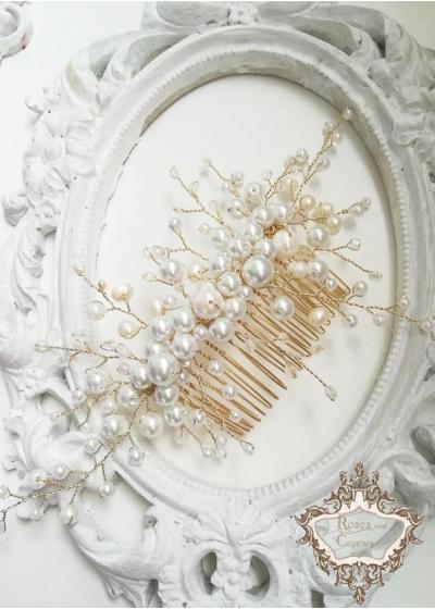 Стилно гребенче-булчински аксесоар за коса Pearls and Gold by Rosie