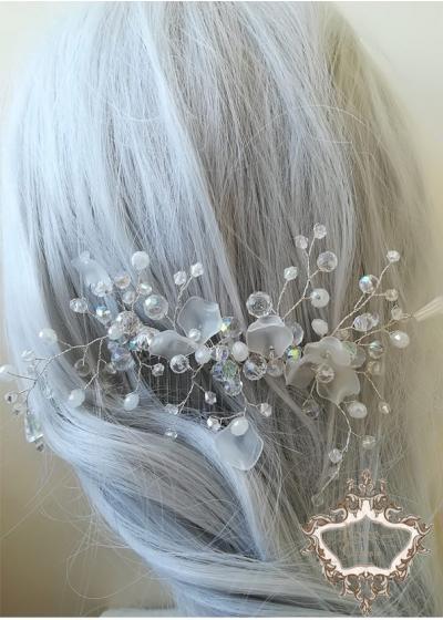 Булчинска украса за коса с кристали Сваровски на гребенче White Orchid by Rosie