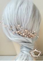 """Нежен дизайнерски гребен за украса на сватбена прическа модел """"Romantic Touch"""" by Rosie"""