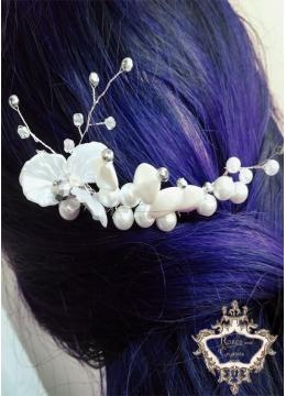 Елегантно гребенче-булчински аксесоар за коса White Orchid by Rosie