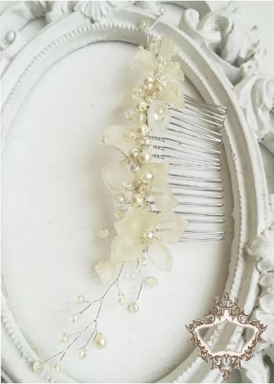 Нежно гребенче украса за сватбена прическа Ivory Orchid by Rosie