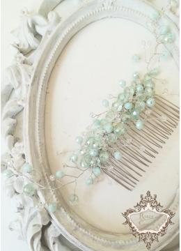 Кристален гребен - украса за официална прическа в цвят Мента Mild Mint by Rosie