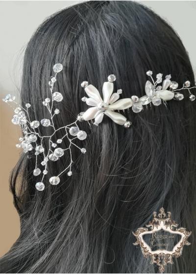 Сватбена украса за коса на гребен Silver Glam