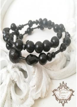 Черна дизайнерска Гривна със Сваровски кристали и перли Black Rose by Rosie