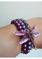 Дизайнерска Гривна уникат с перли и кристали Сваровски в лилаво Dragonfly by Rosie
