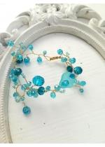 Нежна дизайнерска гривна със Сваровски кристали в цвят Тюркоаз Turquoise Spell by Rosie