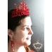 Зашеметяващ комплект дизайнерска корона и дълги обици Сваровски кристали Absolute Queen of Fire