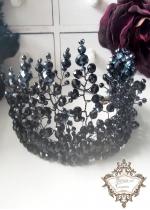 Дизайнерска корона от черни Сваровски кристали Black Queen of Roses