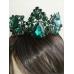Уникална дизайнерска корона цвят изумрудено зелено модел Emerald Rose by Rosie